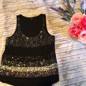 Express sequins black tank